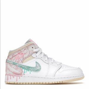 🍦*NEW* Air Jordan 1 Mid 'Paint Drip' (GS)